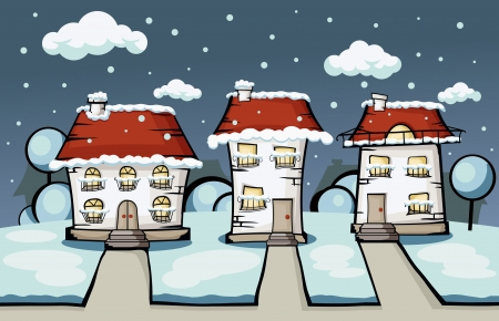 vector winter cartoon house surrounded by greenery Vector