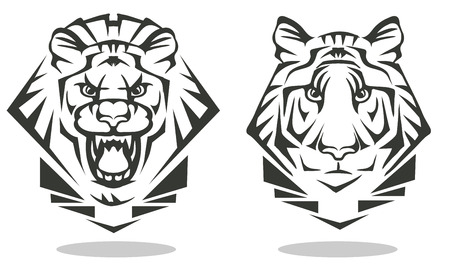 Vector black and white image of a tiger and a lion Illustration