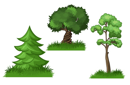Vector color images of trees