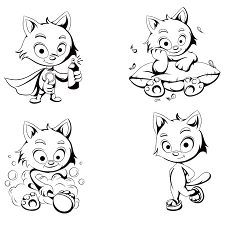vector black and white sketch characters Illustration