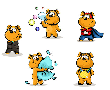 dog in costume: vector characters in various poses Illustration