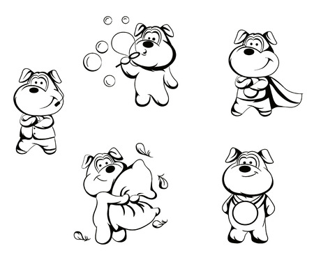 dog costume: Illustration  characters in different poses