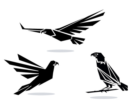 Illustration  black silhouettes of birds of prey Illustration