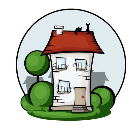 Illustration  colored cartoon house surrounded by greenery