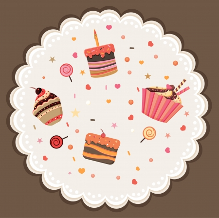 Tasty card made of cupcakes  Sweet invitation  Cartoon vector background Illustration