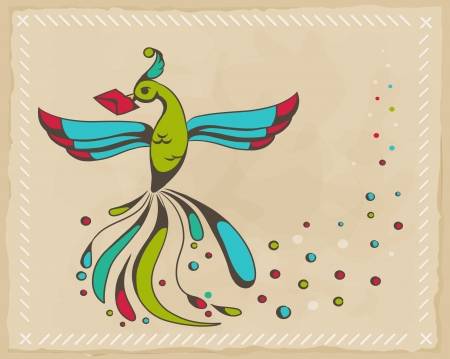 Fabulous bird holding an envelope. Vector illustration Illustration