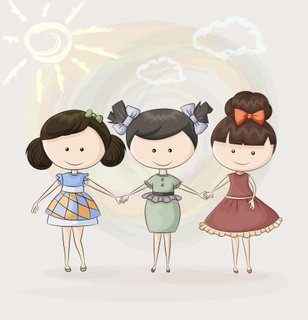 Three happy girl friends is smiling. Vector