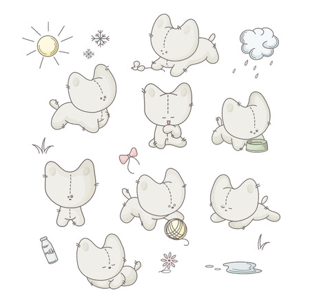 Vector grey cats sketch characters Vector