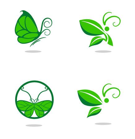 나비와 나뭇잎 벡터 표지판 일러스트