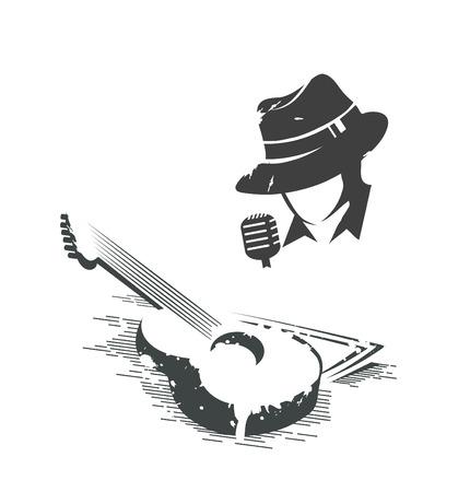 벡터 검은 색과 가수와 기타의 흑백 그림 일러스트