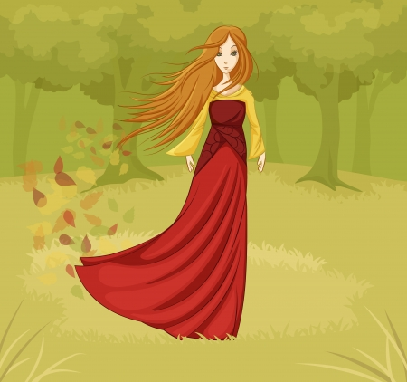 Girl in a fairy tale forest Illustration