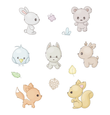 set of cute forest animals Illustration