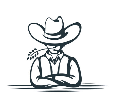 Cartoon cowboy on white background Vector