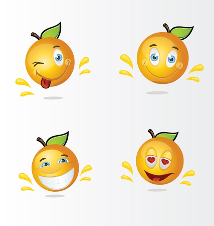 Happy cartoon oranges Ilustrace