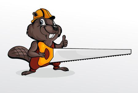 Beaver llevaba casco y la celebración de motosierra Ilustración de vector
