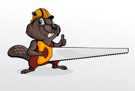 Beaver wearing helmet and holding chainsaw