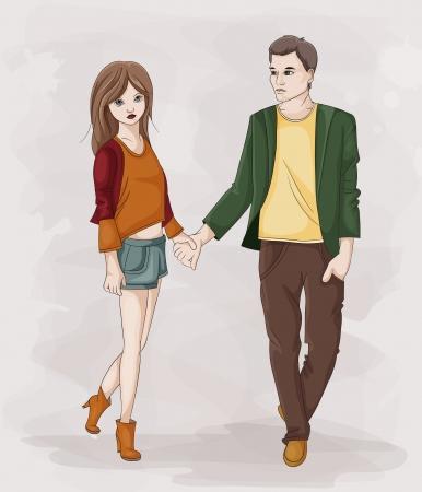 산책하는 동안 스틱 그림 커플이 손을 잡고 그림 스톡 콘텐츠 - 23119113