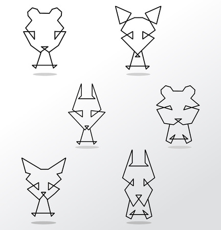 vector set of abstract animal