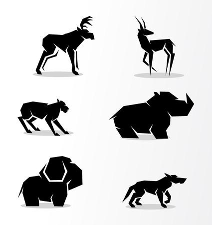 lince: conjunto de siluetas de los animales Vectores
