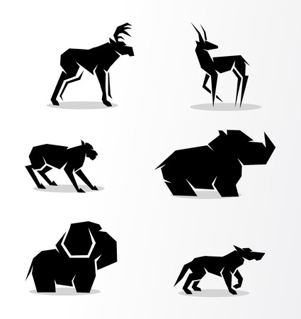 lynx: set of silhouettes of animals