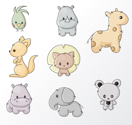 set of colored cartoon wild animals Vector