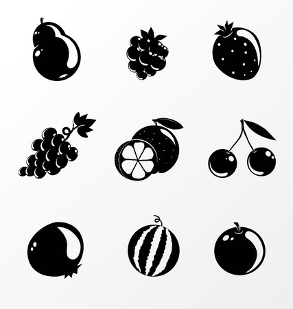 black and white set of fruit Illustration