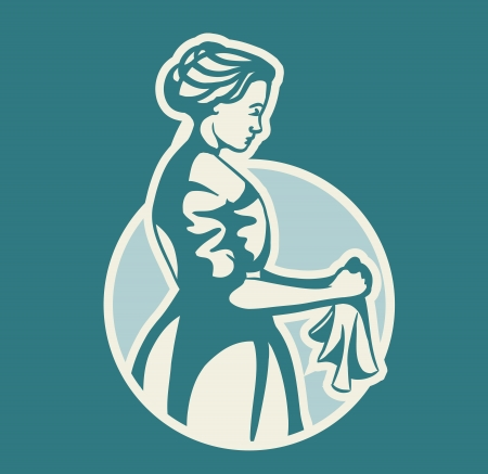 vector illustration of a woman washes clothes