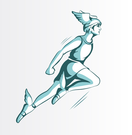 fairy vector: Vector illustration of a flying Hermes in fairy sandals