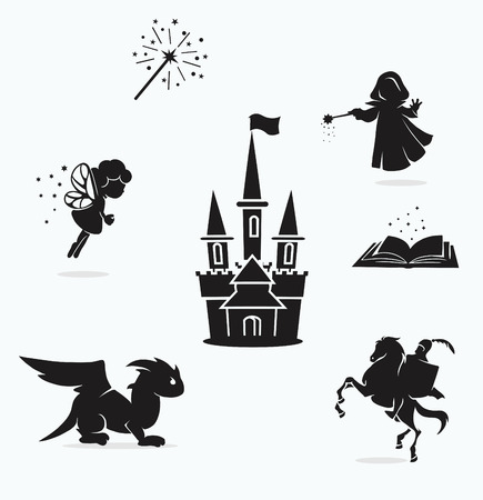 vector set of black and white fairy pictures Vector