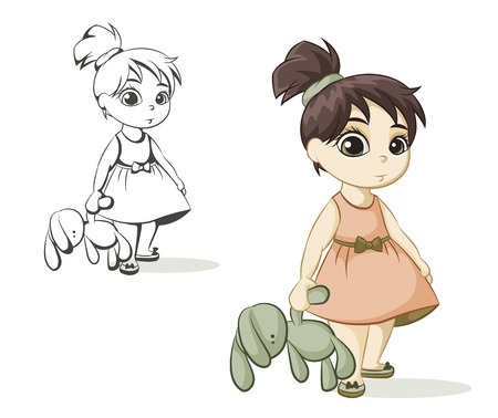 little girl dress: little girl with brown hair holding a toy bunny Illustration