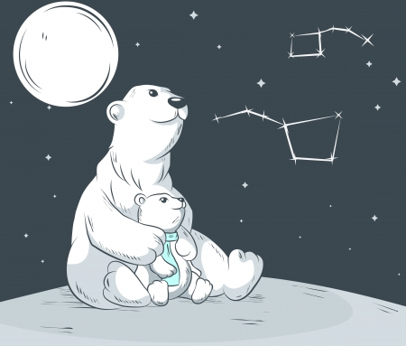 Polar bears mother and son looking on star Illustration