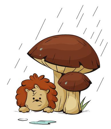 cartoons outline: Vector Hedgehog hiding from the rain under a mushroom