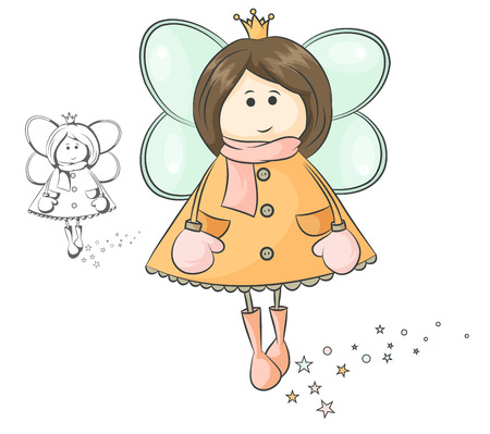 little fairy in crown and winter clothes Vector