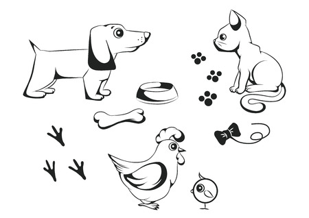 vector set of black and white animals
