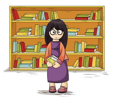 girl near the bookcase holds in hands books Illustration