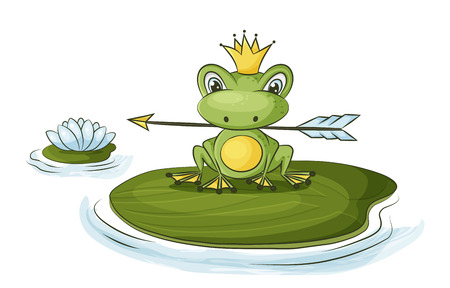 frog princess fairy tale character is holding an arrow Illustration