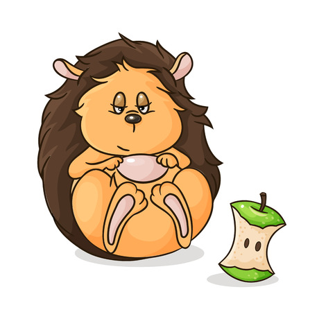 vector gorged itself hedgehog and apple core Illustration