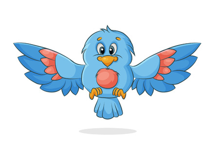 vector cartoon bird with outspread wings