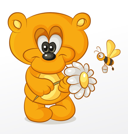 teddy bear holding a flower, to which flies the honey bee
