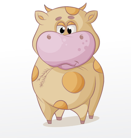 character traits: vector cartoon bull chewing grass