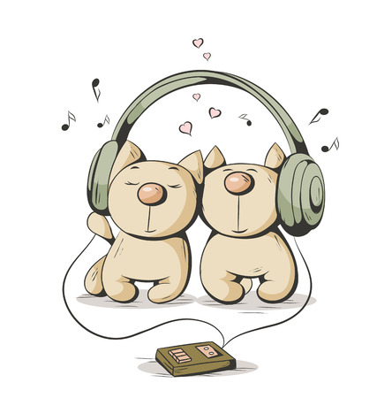 Two cartoon cat listening to music