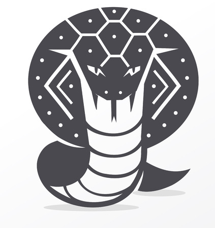 vector schematic black and white image of a cobra Illustration