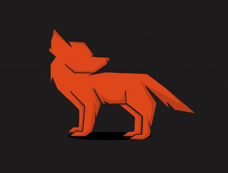 vector schematic silhouette red fox