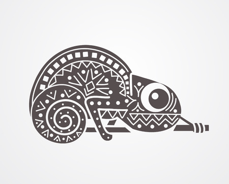 Vector black and white image of a chameleon decorated with patterns