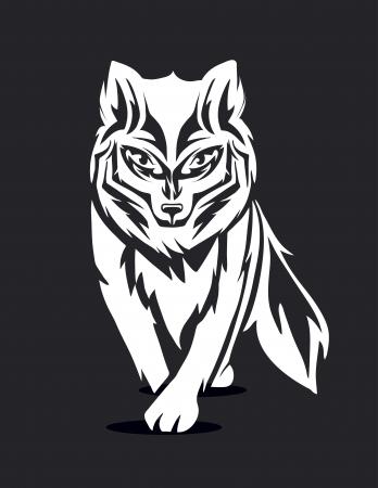 black fox: black and white silhouette of a fox