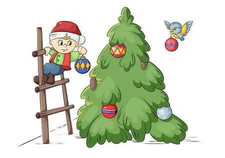 smallest dwarf decorating a Christmas tree balls Illustration