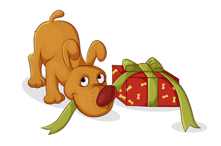 color illustration dog opens his gift