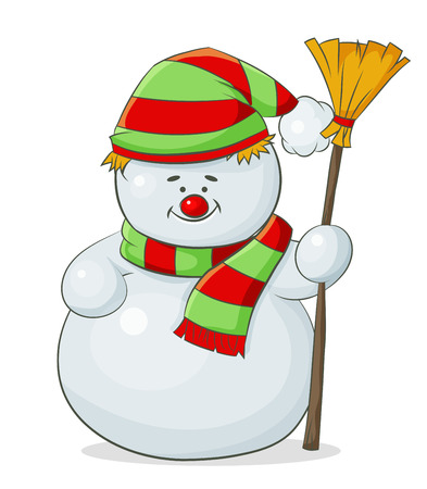 vector color snowman in hat and scarf and in hand with a broom