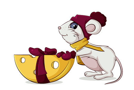 mouse keeps your gift a piece of cheese for Christmas Illustration