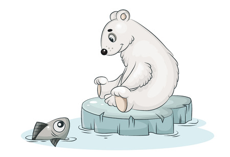 Cartoon vector white polar bear and fish Illustration